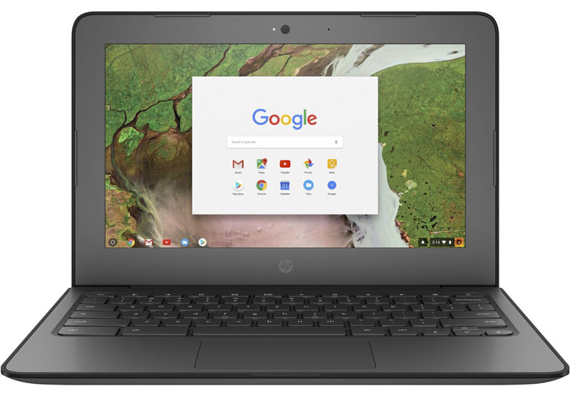 black chromebook laptop with display screen open