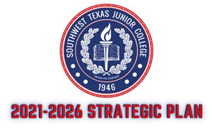 SWTJC Seal Logo with the title 2021-2026 Strategic Plan in red all caps letters