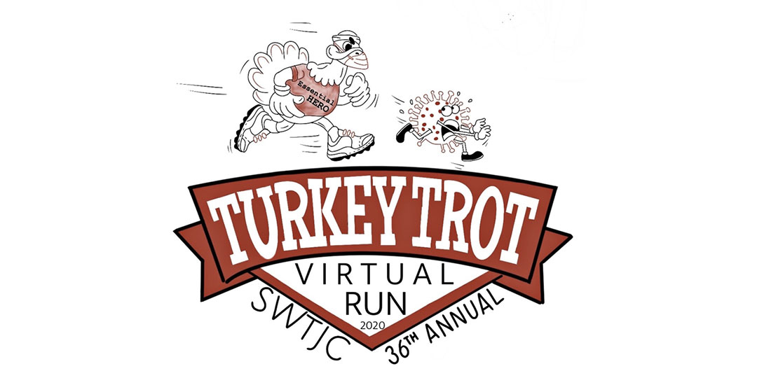 TTurkey Trot logo of turkey running with headphones and athletic gear